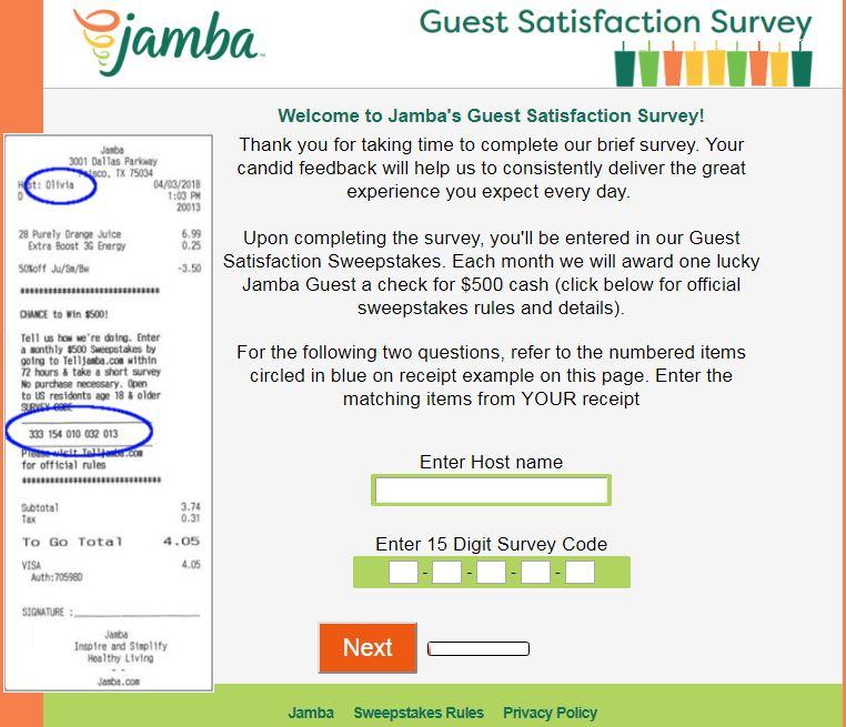 jamba juice survey