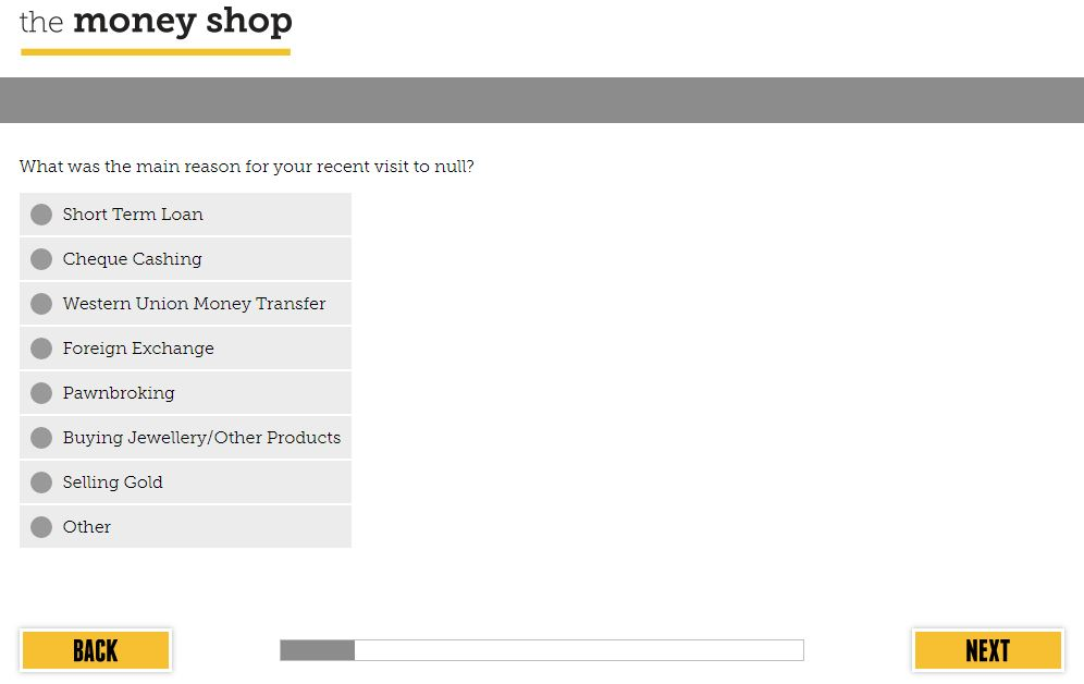 Money Shop Survey