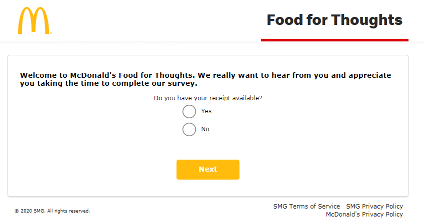 McDonalds Food for Thoughts Customer Experience Survey