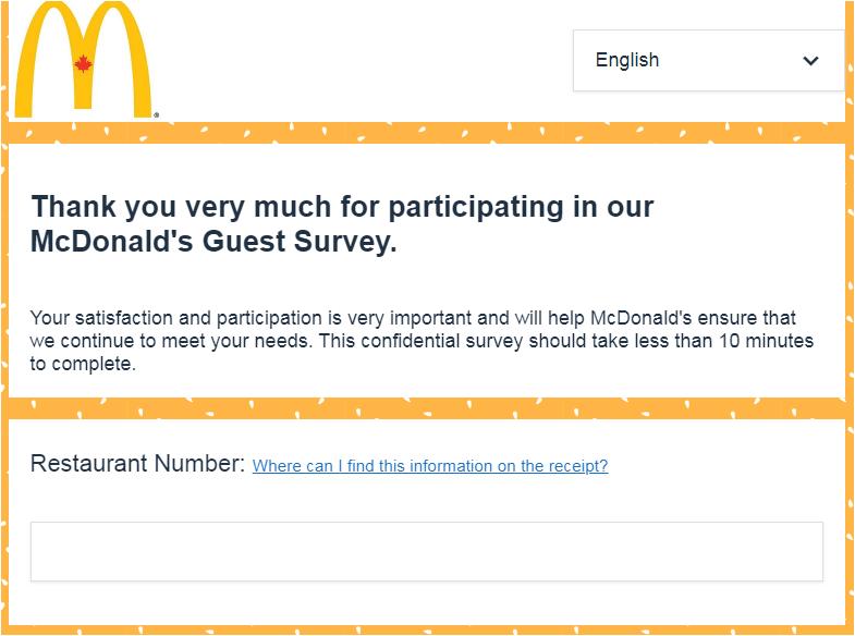McDonald's Canada Customer Experience Survey