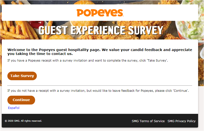 Popeyes Guest Customer Survey 2020