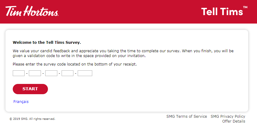 How do you become a Tim Hortons survey?