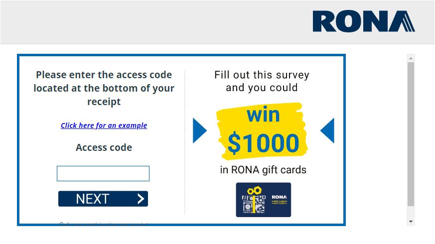 RONA Guest Feedback Survey