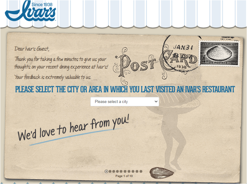 Ivar's Restaurants Customer Satisfaction Survey