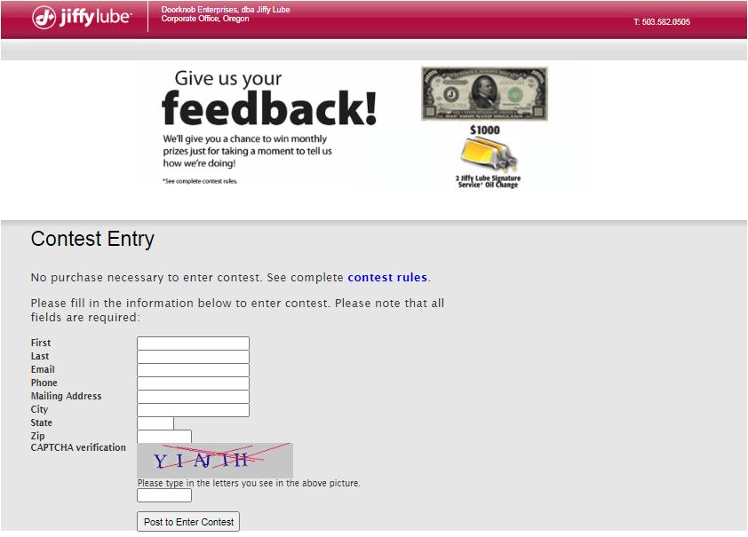 Tres C's Inc / Jiffy Lube feedback Survey