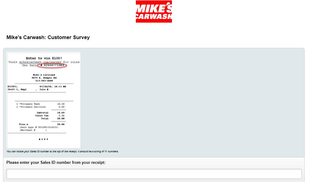 www.mikescarwash.com/survey Homepage