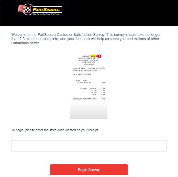 PartSource Guest Experience Survey