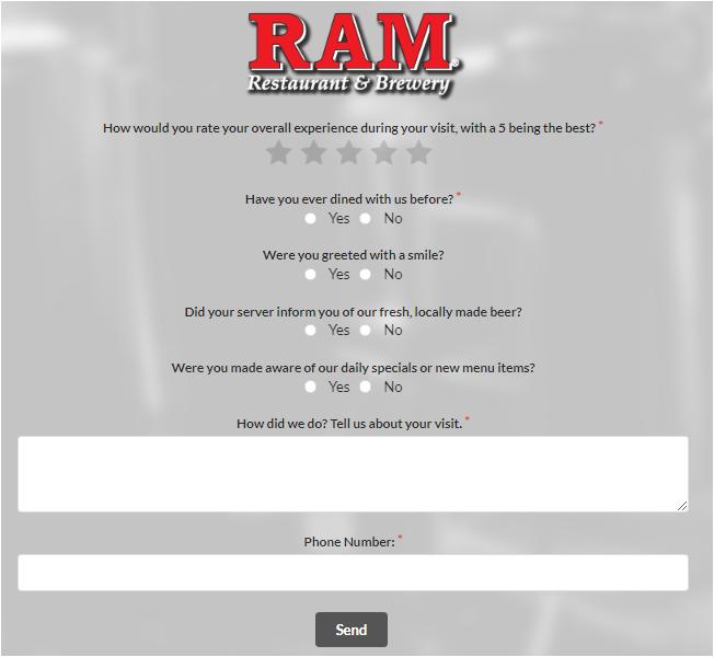 RAM Restaurant & Brewery Guest Experience Survey
