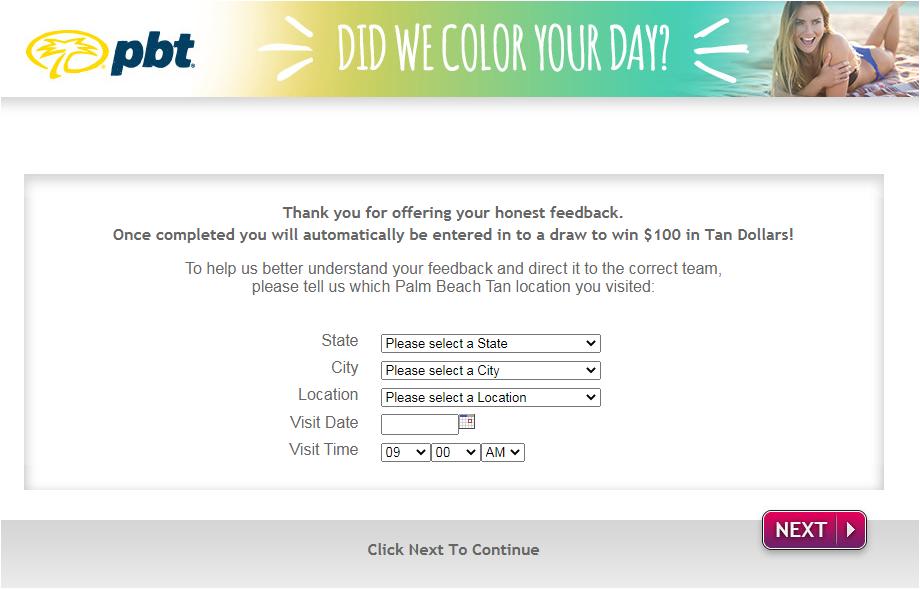 Palm Beach Tan Survey Homepage