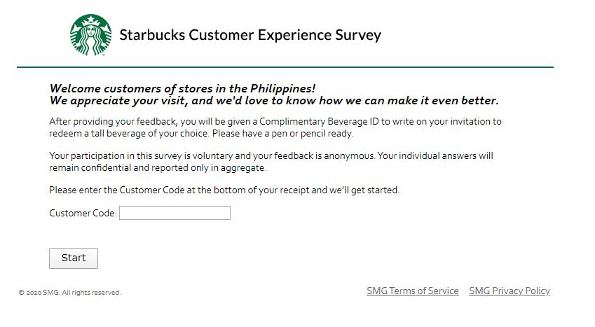Starbucks Customer Experience survey